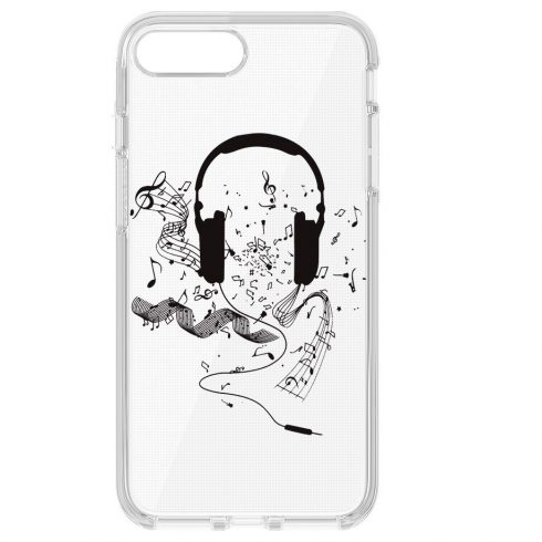 Capac de protecție pentru iPhone X/XS, TPU transparent, model Music 1