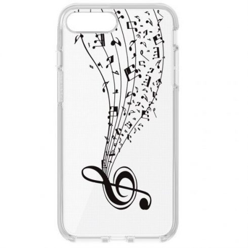 Capac de protecție pentru Samsung A6 Plus 2018, TPU transparent, model Music 2